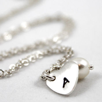 Personalized necklace, Hand stamped sterling silver, Personalized Necklace, Swarovski Pearl with Sterling Silver Stamped Heart Charm