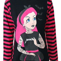 Pink Stripey Arm Long Sleeve Tattoo Princess T Shirt - Darkside Clothing