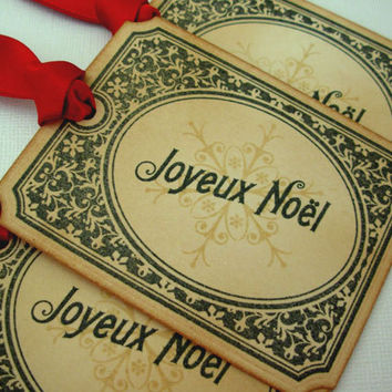 Christmas Gift Tags, Set of 6, Vintage Style, Hang Tags, Decoration, Favor, Place Setting, Red, Luxury Tags, Choose Ribbon Colour