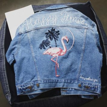One-nice™ Fashion flamingos Embroidered Denim blue Cardigan Jacket
