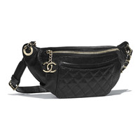 Crumpled Lambskin & Gold-Tone Metal Black Waist Bag | CHANEL