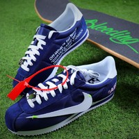 OFF WHITE x Nike Classic Cortez Leather Sport Running Shoes Blue Shoes - Sale