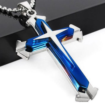Silver Blue and Stainless Steel Cross Pendant Necklace
