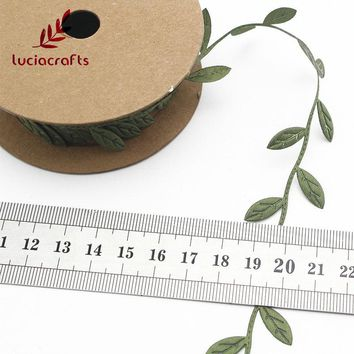 Lucia crafts 2.5cm Leaves Lace Trim Embellishment Leaf Ribbons DIY Sewing Felt Garlands Garment Kraft Fabric Appliques 040051056