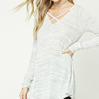 Striped Crisscross Longline Top