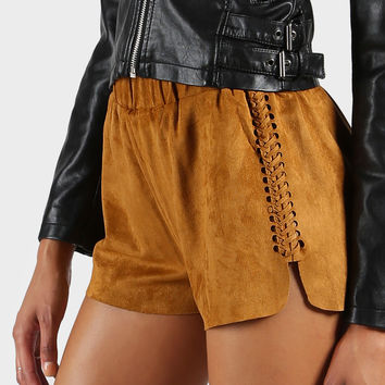 Faux Suede Weaved Shorts Camel