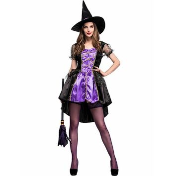 Adult Crafty Vixen Witch Costume Glamorous Purple Lace Up Front High-low Dress Witch Fancy Dress Halloween Costumes for Women