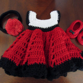 Crochet black, red, white baby sundress with bootie shoes, flower headband. baby dress, baby shoes, baby sundress