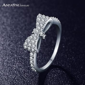 ANFASNI Lovely Bow-Knot Rings For Girls Princess Elegant  Micro Inlay Bijoux Accessories Jewelry CRI0143-B