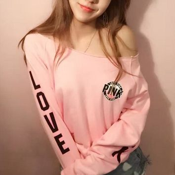 Victoria's Secret LOVE PINK Women's Fashion Letter Print Strapless Long-sleeves Pullover Tops T-shirt One-nice™