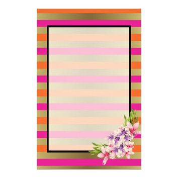 Magnolia on Pink & Faux Gold Stripes Stationery