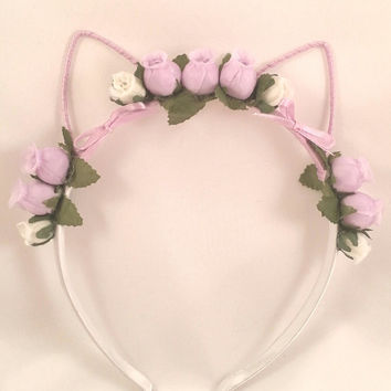 Flower Cat Ear Headband - Lavender/White