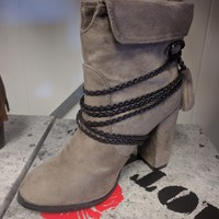 Grey Micro-Suede Ankle Boots