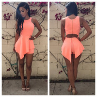 Pink Sleeveless Cut-Out Back Asymmetrical Romper