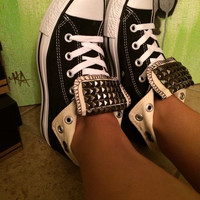 Custom Gun Metal Studded Black Converse All Star High Tops - Chuck Taylors ALL SIZES & COLORS!!