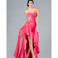 2013 Prom Dresses- Hot Pink Strapless Chiffon Gown - Unique Vintage - Cocktail, Pinup, Holiday & Prom Dresses.