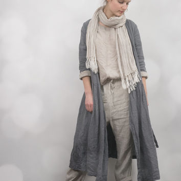 Grey Linen Wrap Dress / Jacket