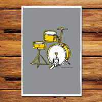 Drums Grey Poster