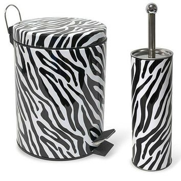 Zebra Print Stainless Steel Waste Bin Trash Can & Toilet Brush Set Bathroom