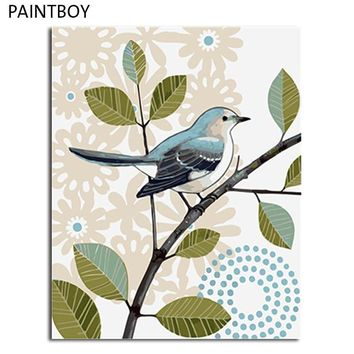 PAINTBOY Bird Flower Framed DIY Oil Painting By Numbers Canvas DIY Oil Painting Home Decoration For Living Room Wall Art