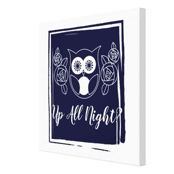 Up All Night? Retro Owl and Roses Cute Funny Canvas Print