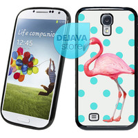 Turquoise Polka Dot Flamingo Samsung Galaxy S4 Case