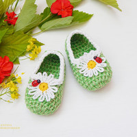 Crochet baby booties - Baby Shower Booties  - Knitted Baby Booties - Newborn Shoes - Camomile - Baby Girl Shoes - Photo Prop
