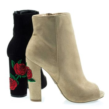 Morris03B Natural Embroidered Floral Stitching, Chunky Block Heel Ankle Bootie w Peep Toe