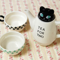 ANIMAL TEA FOR TWO BLACK CAT BY SHINZI KATOH