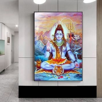 Shiva Lord Canvas Paintings On The Wall Hindu Gods Wall Art Canvas Hinduism Wall Posters And Prints Cuadros Picture Home Decor