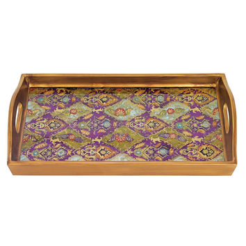 """Badash RTR18-CA Cabra Rectangle Reverse Painting on Glass Serving Tray 18"""" X12"""""""