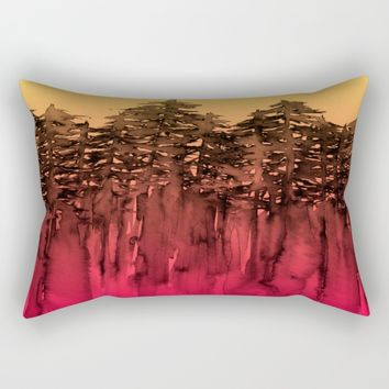 FOREST THROUGH THE TREES 12 Hot Pink Magenta Orange Black Landscape Ombre Abstract Painting Outdoors Rectangular Pillow by EbiEmporium
