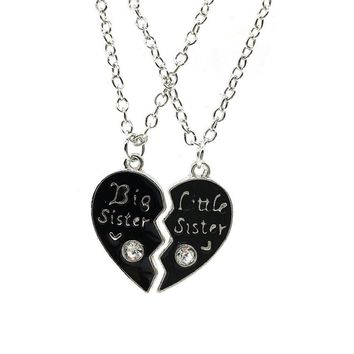 Big/Little Sister Chain Necklace Pendant Friends Lover Gift Valentine's Day