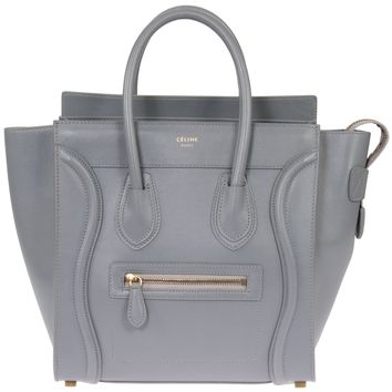 Celine Micro Luggage Handbag | Smooth gray Calfskin