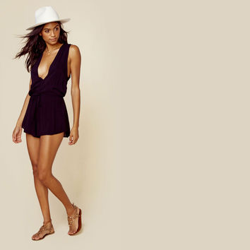 Deep V Sleeveless Romper