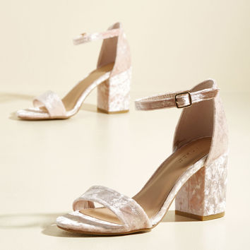 Have the Upper Grande Velvet Heel in Blush | Mod Retro Vintage Heels | ModCloth.com