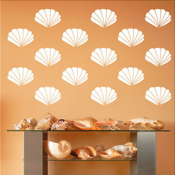 Scallop Sea Shells Vinyl Wall Decals - Set of 4 Inch Scallop Shell Decals 22577