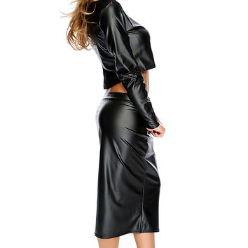Sexy Black Faux Leather 2 Piece Midi Party Dress