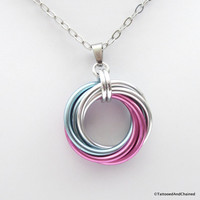 Large transgender pride chainmaille love knot pendant; pink, white, light blue