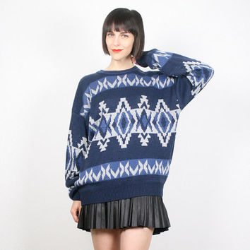 Vintage Cosby Sweater Navy Blue Jumper Southwestern Print Navajo South Western Chunky Knit Sweater Pullover Boho Ethnic L XL Extra Large