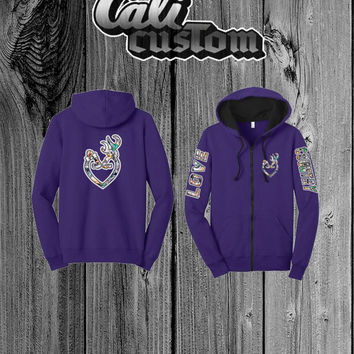 Love Country Camo Heart Purple Zip Up Hoodie