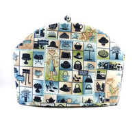 Sophisti-Cats Tea Cozy, Dome Shape Fabric Cozy, Cats, Fits 6 to 8 Cup Size Tea Pot, Navy Blue-Beige-Green, RedLeafStitchCraft