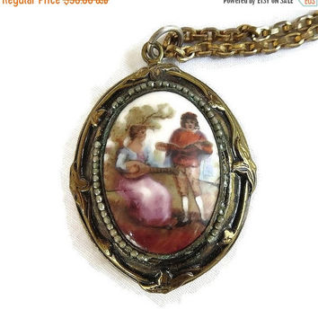 Antique Porcelain Cameo Locket Pendant Necklace with Painted Courting Couple Vintage