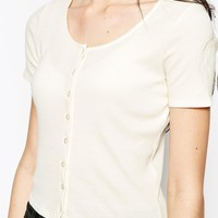 Monki Front Button Up Crop Tee