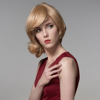Charming Short Human Hair Side Bang Virgin Mono Top Capless Wig 8 Colors