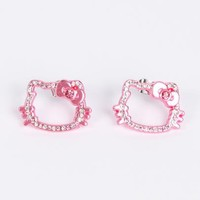 Hello Kitty Face Stud Earrings: Pink Gold