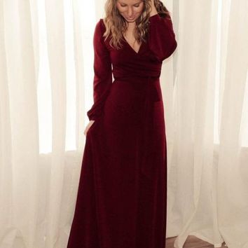 The Jonna Long Sleeve Wrap Maxi - Burgundy