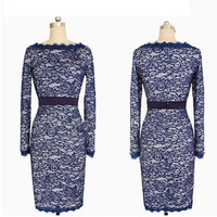 Lace Long Sleeve Midi Dress in Apricot or Dark Blue