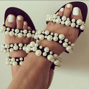 Fashion Women's Shoes Summer New Suede Pearl Jewelry Sandals Metal Flat-soled Slippers