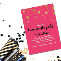 Printable bachelorette party invitation/pink and gold invitation/hen party invite/girls night out invite